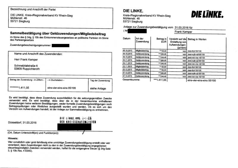 Zuwendungsbescheinigung 2, DIE LINKE 2015